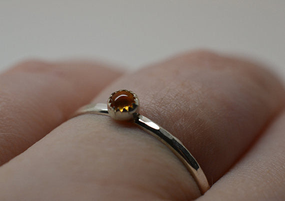 Handmade Silver & 3mm Citrine Ring