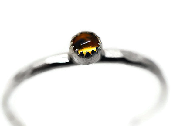 Sterling Silver & Tiny Citrine Gemstone Ring
