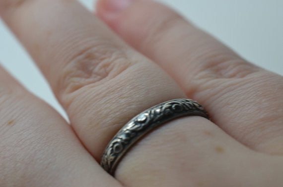 Handmade Personalised Oxidized Floral Silver Wedding Ring