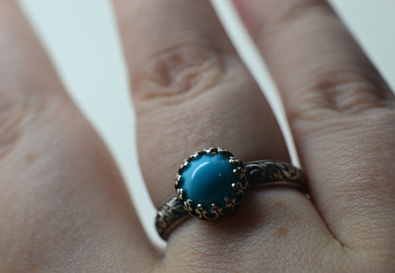 Handmade Oxidised Floral Silver Natural Turquoise Cocktail Ring