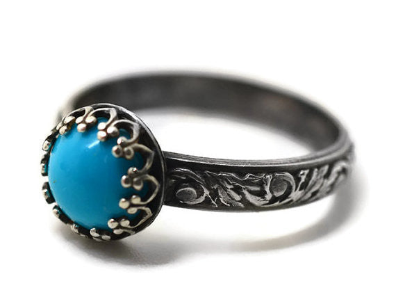 Sleeping Beauty Turquoise Ring in Oxidized Floral Silver