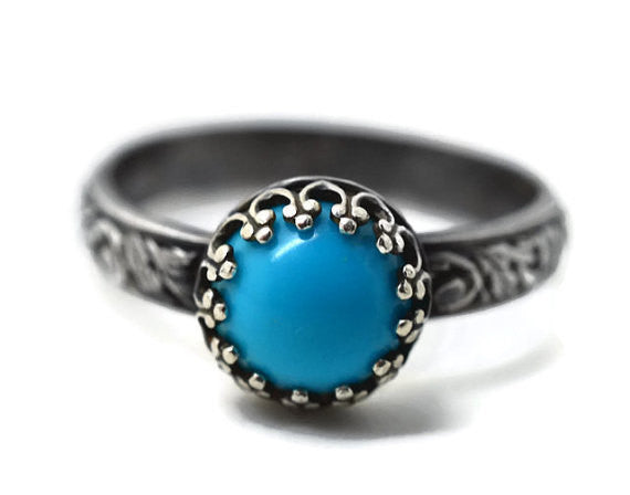 Handmade Oxidised Floral Silver Turquoise Engagement Ring