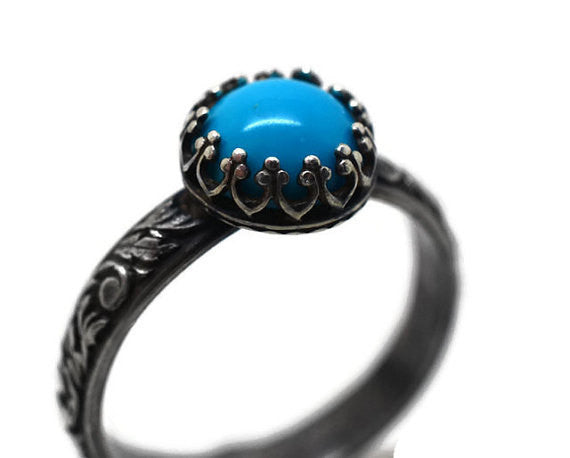 Handmade Oxidised Floral Silver Natural Turquoise Statement Ring