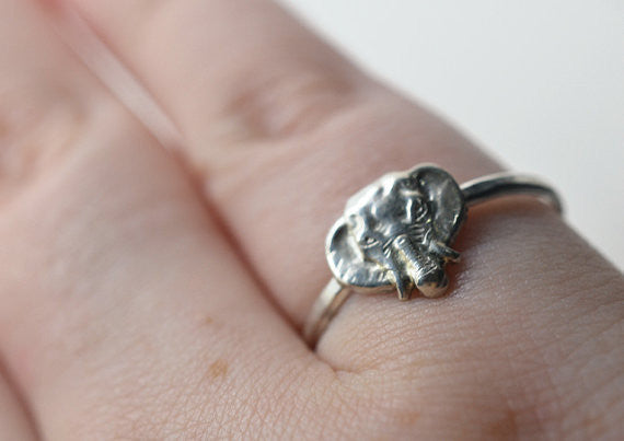 Handmade Sterling Silver Elephant Head Ring