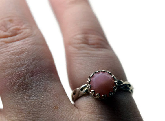 Handmade Women's Silver Celtic Style Pink Opal Ring