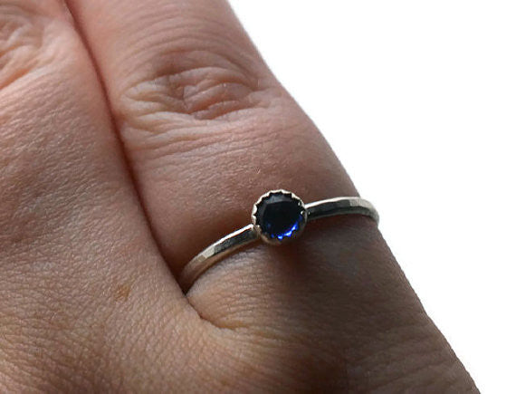 Handmade 4mm Little Blue Sapphire Stacking Ring