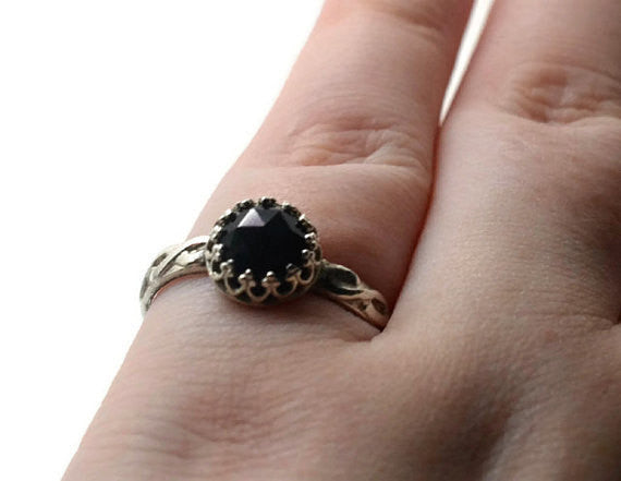 Handmade Oxidised Silver Celtic Onyx Engagement Ring