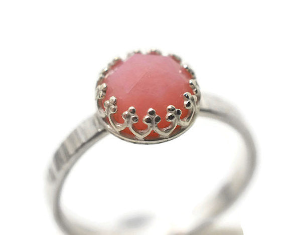 Hammered Silver Tree Bark Textured Pink Opal Ring