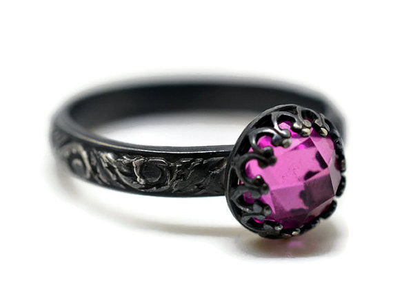 Handmade Gothic Oxidized Silver Pink Sapphire Engagement Ring