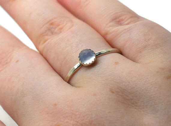Natural Blue Chalcedony Stacking Ring in Silver