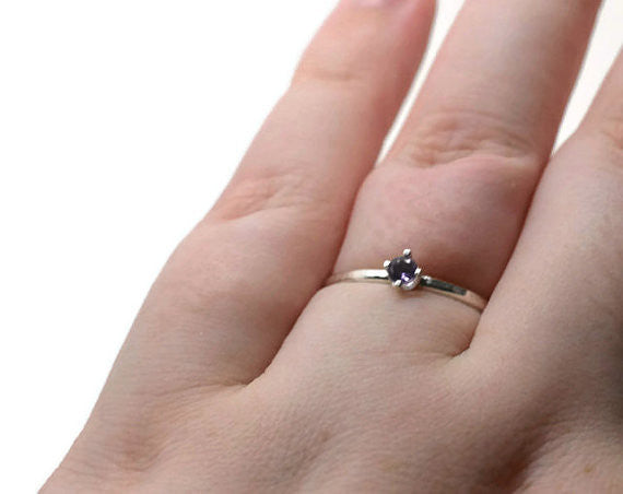 Dainty 3mm Amethyst Promise Ring in Sterling Silver
