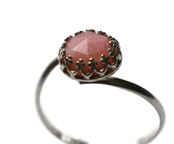Handmade Pink Opal Statement Ring in Sterling Silver