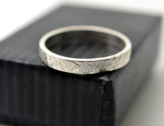 Handmade Industrial Men's Sterling Silver Wedding Band