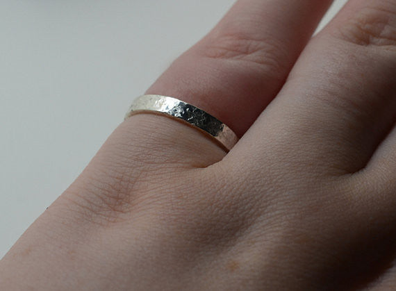 Handforged Silver Narrow Wedding Band