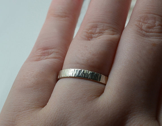 Personalised Sterling Silver Tree Bark Wedding Ring