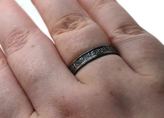 Handmade Greek Art Oxidized Silver Wedding Band