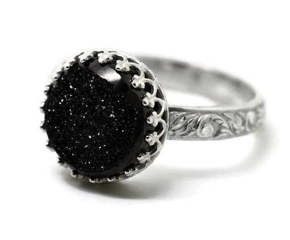 Handforged Floral Silver & Gothic Black Druzy Ring