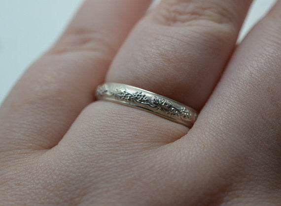 Handmade Silver Grape Patterned Band