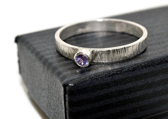 Handmade Sterling Silver & Tiny Tanzanite Engagement Ring