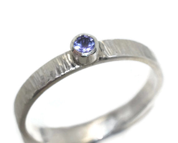 Handforged Sterling Silver & 3mm Tanzanite Engagement Ring