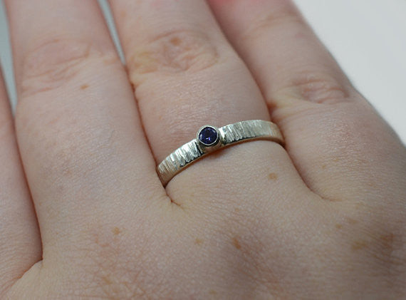 Hammered Sterling Silver & 3mm Tanzanite Engagement Ring
