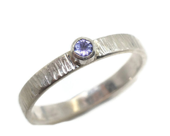 Hammered Sterling Silver & Tiny Tanzanite Engagement Ring