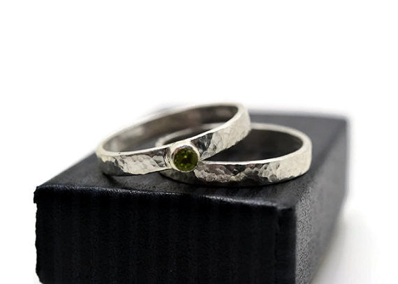 Handforged Sterling Silver & Peridot Bridal Ring Set