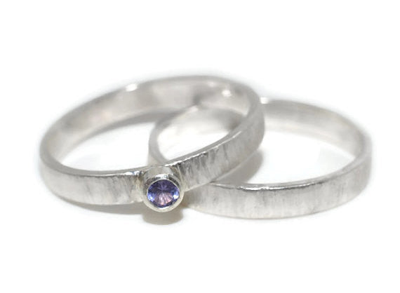 Handmade Rustic Silver Tree Bark Style Tanzanite Bridal Set