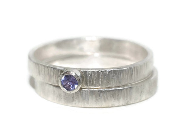 Handforged Rustic Silver Tree Bark Tanzanite Engagement Ring Set