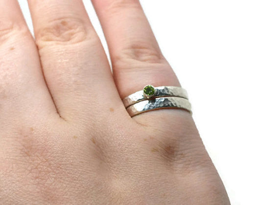 Handmade Sterling Silver & Peridot Engagement Ring Set
