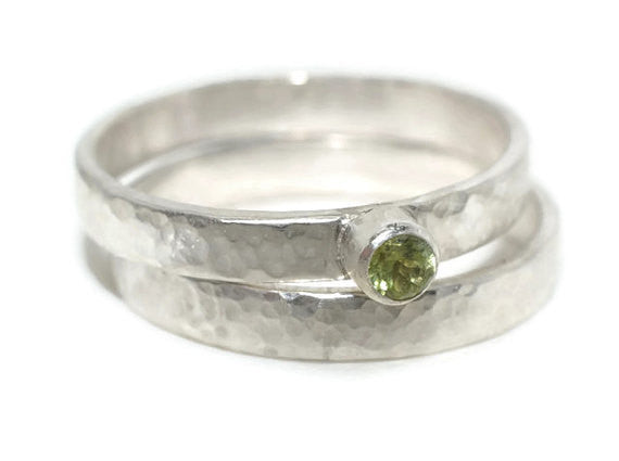 Handmade Women's Peridot Wedding Ring Set in Silver