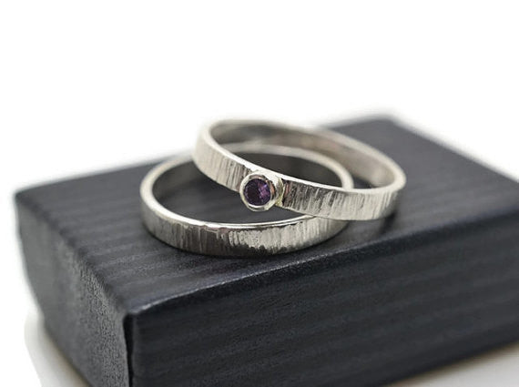 Handmade Sterling Silver & Tanzanite Engagement Ring Set