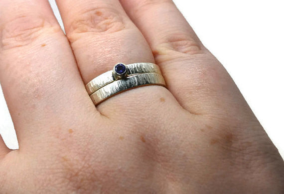 Handmade Sterling Silver & Tiny Tanzanite Engagement Ring Set