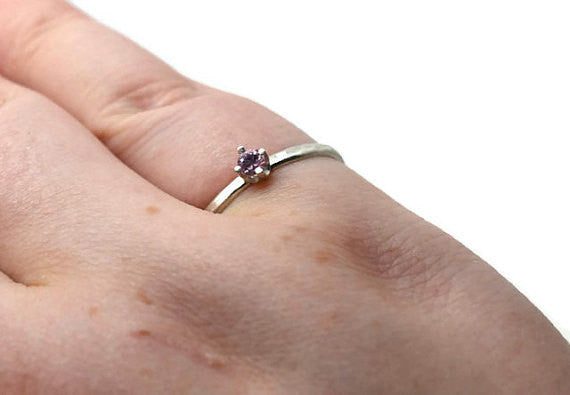 Handforged 3mm Pink Sapphire Ring