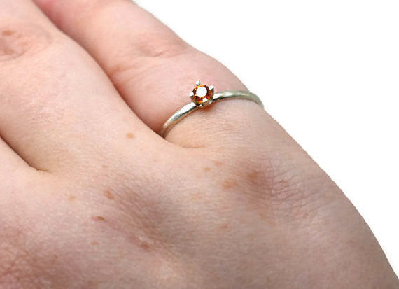 Handforged Sterling Silver & Tiny Orange Sapphire Ring