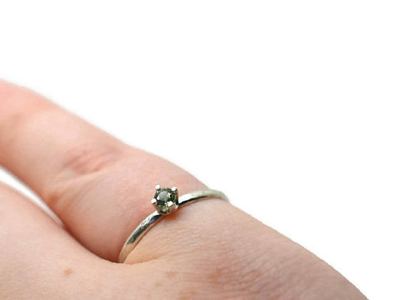 Handforged Green Sapphire Engagement Ring in Sterling Silver