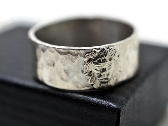 Custom Made Wide Sterling Silver Lion Band with Engraving