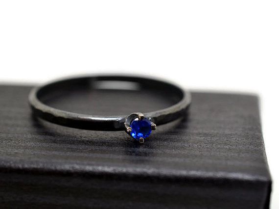 Handforged 3mm Blue Spinel Oxidized ring