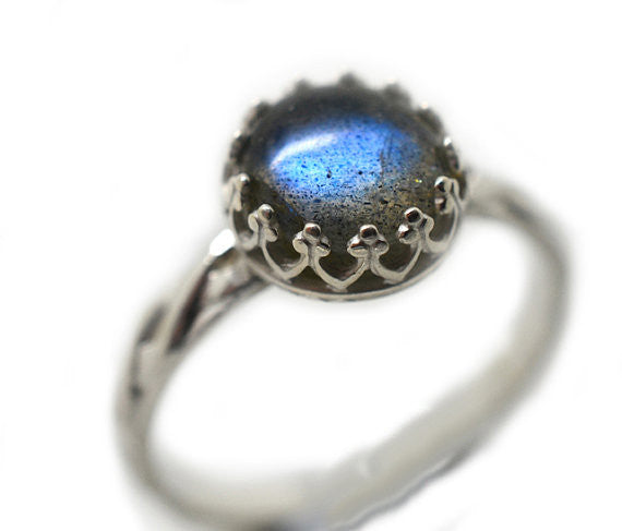 Handmade Sterling Silver Celtic Style Labradorite Engagement Ring