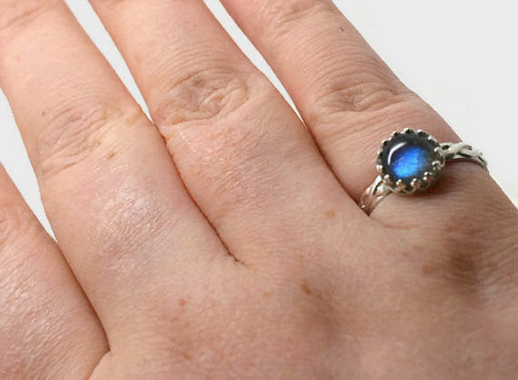 Labradorite Engagement Ring, Handmade Engraved Celtic Style Silver Jewellery