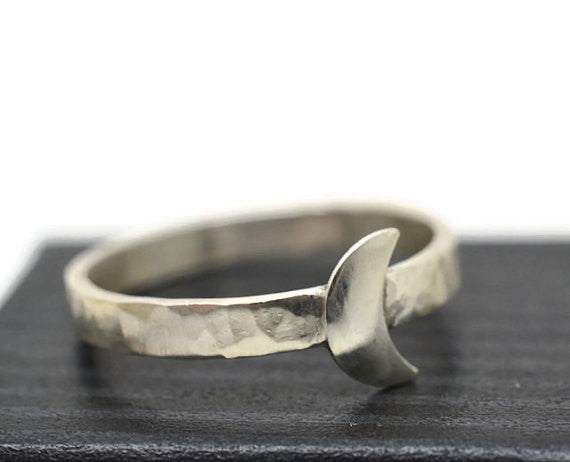 Handmade Sterling Silver Crescent Moon Ring