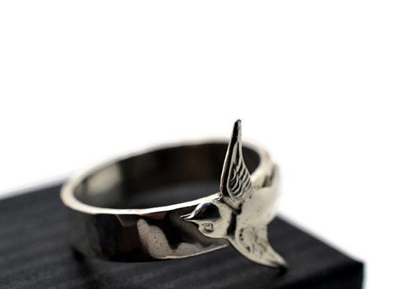 Handforged Sterling Silver Flying Bird Ring