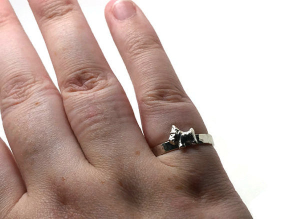 Handforged Sterling Silver Scottish Terrier Ring