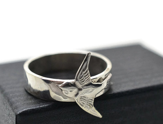 Handmade Silver Swallow Bird Charm Ring