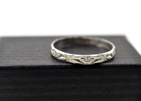 Handmade Sterling Silver Floral Poesy Wedding Ring