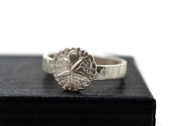 Engravable Sterling Silver Sand Dollar Ring