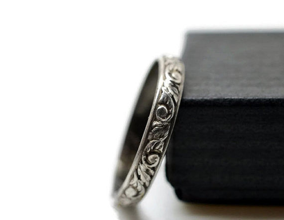 Oxidized Floral Silver Wedding Band