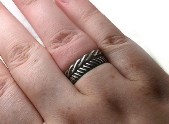 Handmade Oxidized Silver Celtic Style Wedding Band