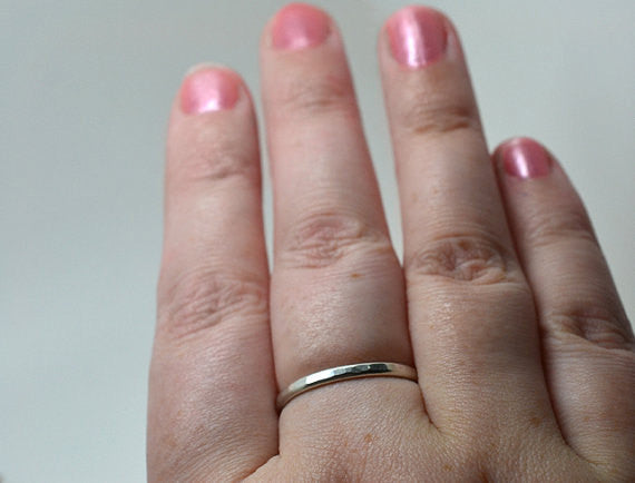 Handmade 2mm Wide Dainty Silver Stack Ring