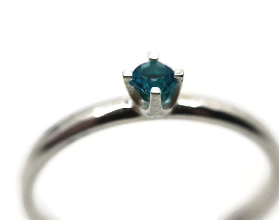 Handforged Sterling Silver & 3mm London Blue Topaz Ring